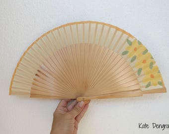 Natural with Peachy Lemon Flowers Flamenco Folding Fan Hand Fan Wood and Fabric Fret by Kate Dengra from Spain  Made to order