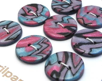 Handmade Round Buttons Green Pink Lilac 18mm