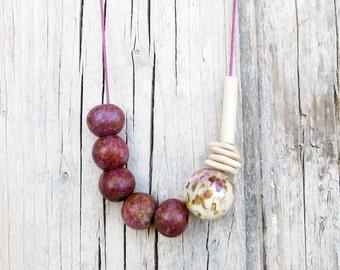 Bordeaux and Cream Necklace / Ceramic Necklace / Boho Necklace / Geometric Necklace / Melange Necklace / Flowers Necklace