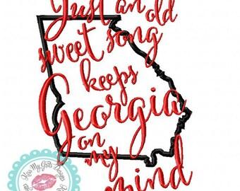 Georgia on My Mind Machine Embroidery Applique Design