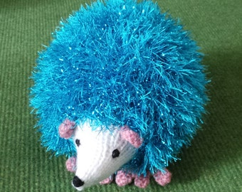 Hand Knitted Hedgehog in Sparkly Bright Turquoise Tinsel Wool - Size 16cm Long