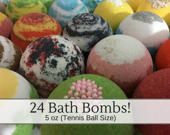 24 Bulk Bath Bombs, 5 oz Bath Bombs Bulk Deals, Handmade Bath Fizzies, Party Favors Thank you Gifts, Baby Shower, Wedding, Birthday