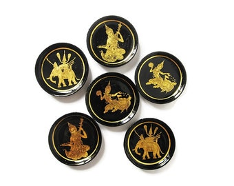 Lacquer Coasters/ Vintage Set of 6 Thai Lacquer-ware Coasters/ Asian Decor/ Elephants and Thai Dancers