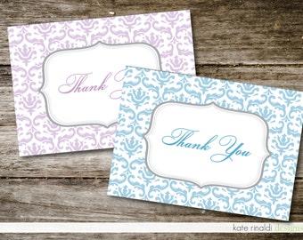 Bridal Shower Thank You Cards  - Damask - Brackets - Customized - Printable