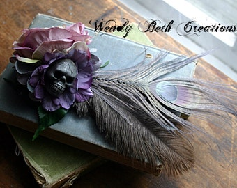 Lady Gray Skull Hair Clip Fascinator - Steam Punk, Hand Made Clay Skull, Goth, Belly Dance, Lavender, Peacock Feather