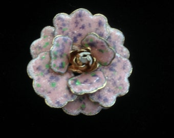 1950's -1960's Three Dimensional Enameled Rose With Accented Rhinestone Brooch