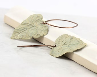Olive Earrings Green Leaf Rustic Brass Patina Unique Jewelry Woodland Botanical Mothers Day Jewelry