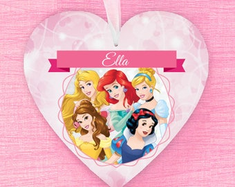 Personalised Disney Princess Hanging Heart with Any Name!  Ariel Belle Cinderella Sleeping Beauty Snow White Jasmine Tiana