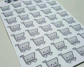 Tiny Kawaii Shopping Cart Stickers