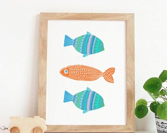 SALE PRINT, Fish Print, Digital Print, Fish Digital Print, Fish Art, Fish Wall Art, Fish Art Print, Fish Artwork, Fish Illustration, nursery