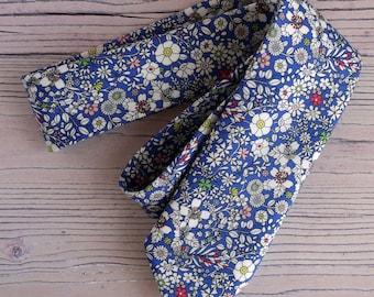 Floral Liberty print tie - Liberty June's Meadow blue tie - Wedding tie - floral tie - Liberty tie