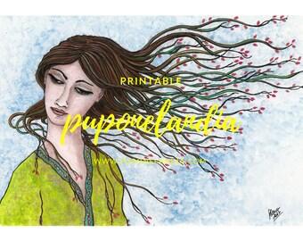 Printable, Woman Sketch, Digital illustration, Woman digital download illustration, Printable art, Printable illustration, Digital art