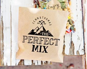 Wedding Favor Bag - The Perfect Mix - Trail Mix Favor  - Mountain, Camping, Backpacker - Personalized Goody Bag - Flat Kraft Bags - 20 Bags