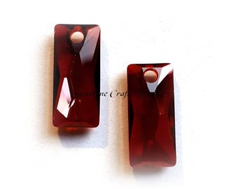 Swarovski Crystal Beads 6465 CRYSTAL RED MAGMA Queen Baguette Pendant 1 Pc - Sizes 13.5mm & 25mm available