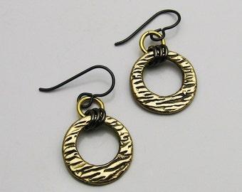 Mixed Metal Earrings, Mixed Metal Jewelry, Gold Bronze and Black Earrings, Gold and Black, Black and Gold, Rustic Earrings, Matching Set