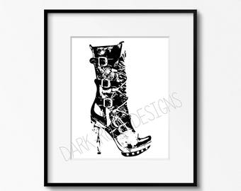 Instant Download Printable Art, Digital Download, Wall Art, Digital Print, Steampunk Heel 8 x 10""