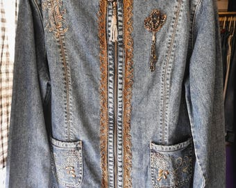 Denim Jacket with Gold Bullion, Vintage Lace Embroidery, and Beadwork (Up-Cycled)