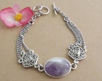 chevron Amethyst cabochon bracelet