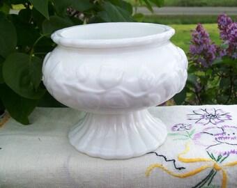 Vintage Milk Glass Floral Vase on Fluted Base