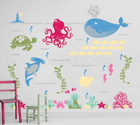 Exceptionnel Ocean Friends Wall Decal, Under The Sea Wall Decal, Octopus, Whale, Shark,  Sea Turtle Wall Decals For Nursery, Kids Or Childrens Room 063