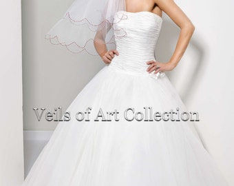 Handcrafted Bridal Elbow Veil with Scalloped Designer Beaded Edge Style VE165