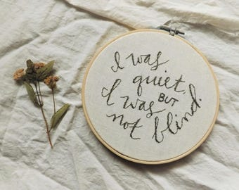 Embroidery Hoop with Quotation from Mansfield Park by Jane Austen