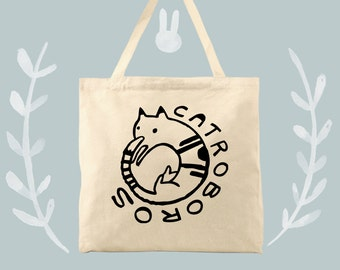 Catroboros cat fan tote bag