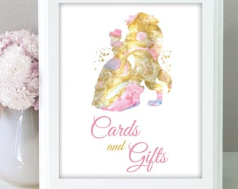 Beauty and the beast Disney Wedding Cards and Gift sign Disney wedding card wedding table decor Gift Sign Disney Card wedding postcard