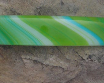 Lime Green and Blue Fused Glass Barrette French Barrette