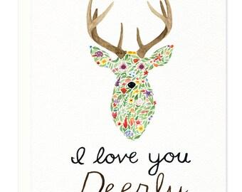 I Love You Deerly Greeting Card