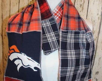 Denver Broncos scarf, Gifts under 25 dollars, 100% upcycled materials, Flannel scarf, Long scarf, Repurposed flannel