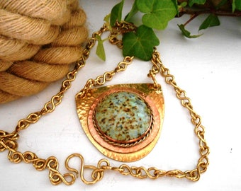 Turquoise Necklace, Brass Necklace, Mixed Metals, Large Necklace, Brass Chain Necklace, Turquoise Stone Pendant, Ready To Ship Gift