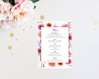 Wedding Menu Modern Tropic Floral Elegant Luxury Bold Classic Unique Calligraphy Destination Beach Affordable Canvas Striped