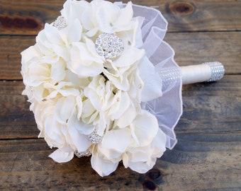 Crystal Brooch Rhinestone Bridal Ivory Hydrangea Bling Bouquet-Ready to ship