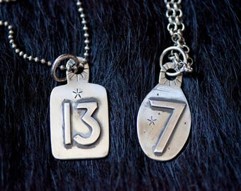 Sterling Silver Lucky Number Stamped Talisman Pendant Handmade to Order