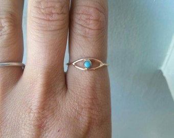 Evil Eye Turquoise and gold fill Stacking Ring - custom made to order