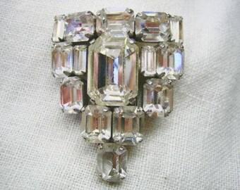 Vintage 30s Emerald Cut Clear Rhinestone Fur Clip Brooch
