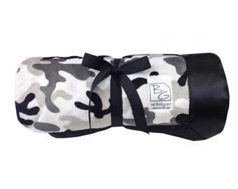 Gray Camo Stroller Blanket