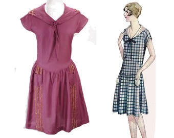 1920s Violet Dress - Reproduction 20s Purple Sailor Frock - Sizes 0 to 20 - 1929 Summer Cap Sleeve Design - Silk & Cotton with Braid - 48553