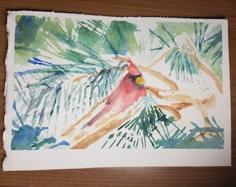 Original watercolor painting unframed - CARDINAL IN EVERGREEN