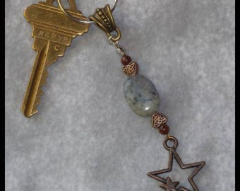 Star Gemstone Keychain - sodalite mahogany obsidian triquetra celestial intuition intuitive magic pagan witch wiccan wicca metaphysical