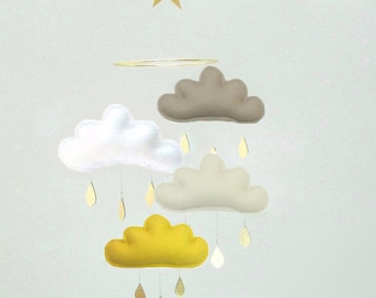 """Coffee and mustard Baby mobile- Taupe, White, Beige, Mustard cloud mobile with gold star """" 4 TAUPE MUSTARD"""" by The Butter Flying, Nursery"""