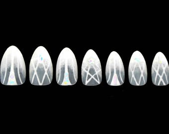 White Magic Jewelry Luxury Nails / Fake nails, press on nails, glue on nails, nail art, gift women, birthday, formal, stiletto nail, wedding