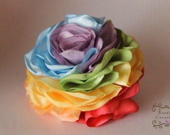 Pastel Rainbow Flower: silky fabric, rainbow hair clip pin brooch  ponytail elastic salmon peach blue lavender green yellow