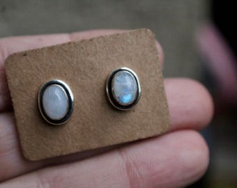Small Blue Moonstone 925 Sterling Silver Plated Earrings- Oval Moonstone Studs- June Birthstone