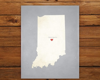 Customized Indiana State Art Print, State Map, Heart, Silhouette, Aged-Look Personalized Print
