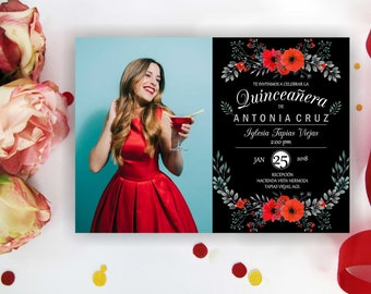 Red Quinceanera invitation with/ without photo. Quinceanera Birthday Invitation, Quinceanera Invites,  Quinceanera party, Digital