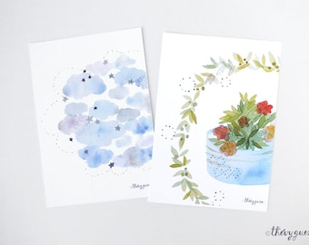 Cloud flower pot card, Greetings watercolor card, Birth announcement, Pastel flower wreath, Flower stationery, Cute cards, Cute stationery