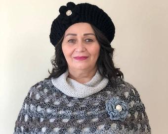 Black Women's Crochet Beret