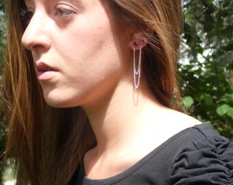 Earrings pink double diamond